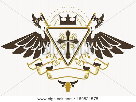 Vintage decorative heraldic vector emblem composed using religious cross hatchets and monarch crown