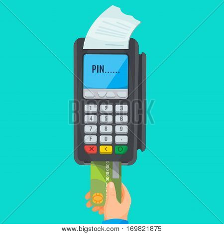 Human hand taking green credit card from POS terminal with white cheque and PIN inscription on screen. Process of paying using plastic card. Vector illustration of isolated paying electronic device