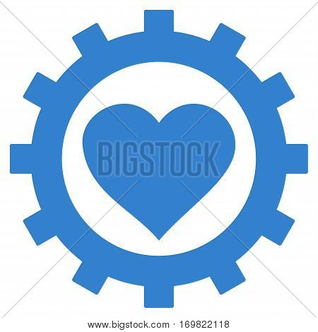 Love Heart Options Gear flat icon. Vector cobalt symbol. Pictograph is isolated on a white background. Trendy flat style illustration for web site design, logo, ads, apps, user interface.