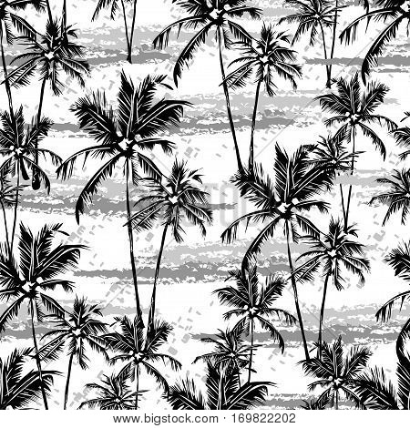Seamless vector monochrome tropical pattern depicting white palm tree on a black background