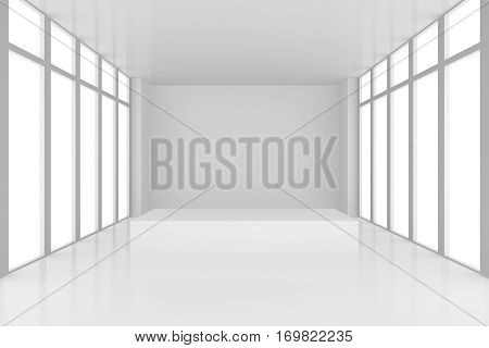 pedestal in white room with windows. 3d render.