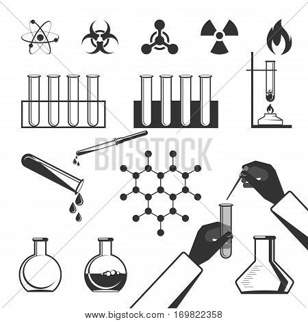 Molecular elements and special test tube black icons collection on white in flat style. Vector poster of warning signs, atomic structures, hands doing chemical experiments using long test tube.