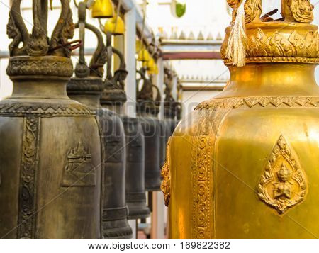 Praying bells in the Wat Saket Temple. Buddhist Temple Wat Saket or Golden mount. Bangkok, Thailand. Selective focus