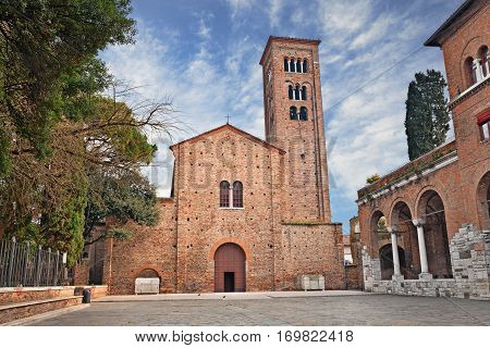 Ravenna, Emilia Romagna, Italy: the medieval St. Francis (San Francesco) basilica where the poet Dante Alighieri is buried in a tomb annexed to the church