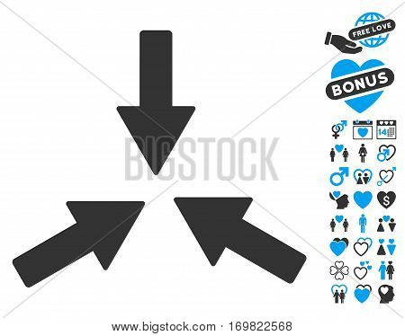 Collide 3 Arrows icon with bonus amour pictograms. Vector illustration style is flat rounded iconic blue and gray symbols on white background.