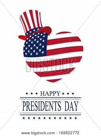 Presidents Day. Greeting card on a white background. Isolated. stylized heart and hat in the colors of the flag. vector illustration