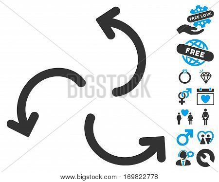 Cyclone Arrows pictograph with bonus marriage images. Vector illustration style is flat rounded iconic blue and gray symbols on white background.