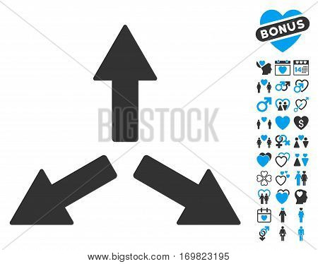 Expand Arrows icon with bonus dating design elements. Vector illustration style is flat rounded iconic blue and gray symbols on white background.