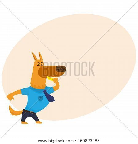 Funny shepherd dog character in blue police uniform blowing a whistle, cartoon vector illustration with place for text. Police dog character blowing a whistle
