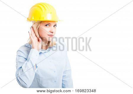 Lady Engineer Wearing Helmet Making Not Hearing Gesture