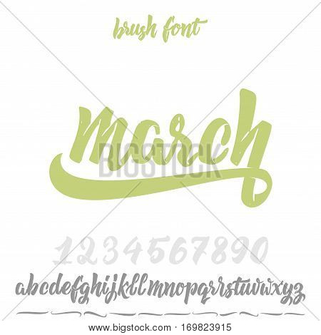 Font drawn on the basis of handwriting calligraphy, modern cursive script brush. Hand Lettering March