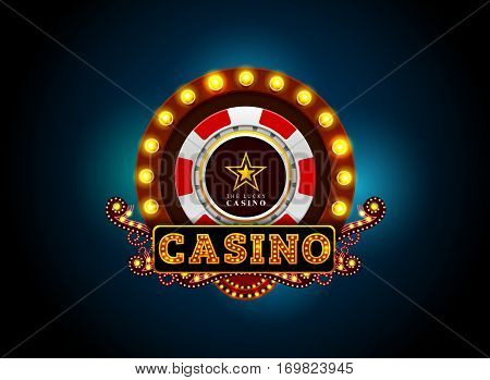 casino neon light sign .Brightly theater glowing retro cinema neon sign.