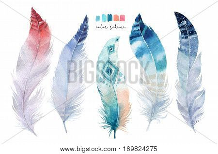 Hand drawn watercolor paintings vibrant feather set. Boho style wings. illustration isolated on white. Bird fly design for T-shirt, invitation, wedding card.Rustic Bright colors.