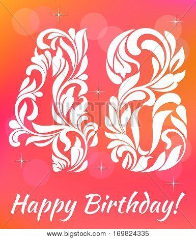 Bright Greeting Card Template. Celebrating 48 Years Birthday. De