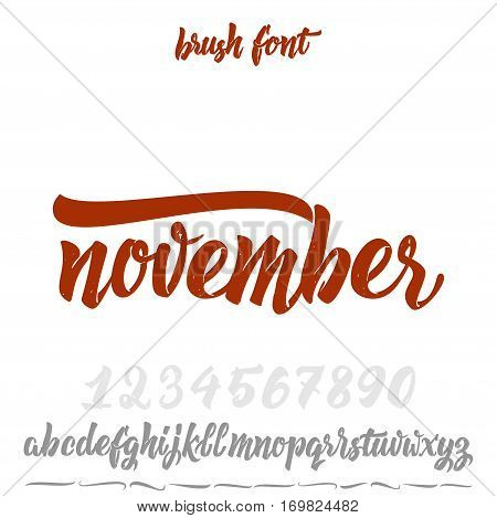 Font drawn on the basis of handwriting calligraphy, modern cursive script brush. Hand Lettering November