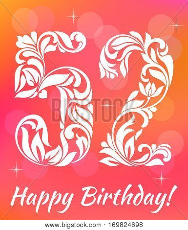 Bright Greeting Card Template. Celebrating 52 Years Birthday. De