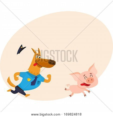 Funny shepherd dog character in blue police uniform chasing a pig, cartoon vector illustration with place for text. Funny police dog character running after little pig