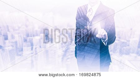 Business concept the company's growth and increase statistics. A successful leader. Double exposure.