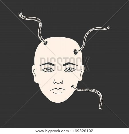 Vector illustration od human face wit attached cables. Image in surrealistic style on the dark background.
