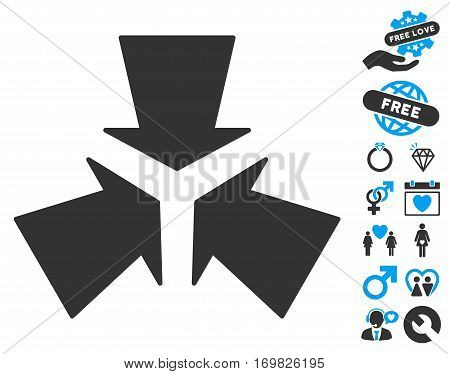 Shrink Arrows pictograph with bonus dating icon set. Vector illustration style is flat rounded iconic blue and gray symbols on white background.
