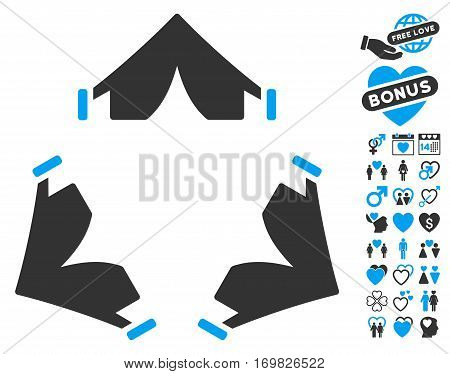 Tent Camp icon with bonus passion pictures. Vector illustration style is flat rounded iconic blue and gray symbols on white background.