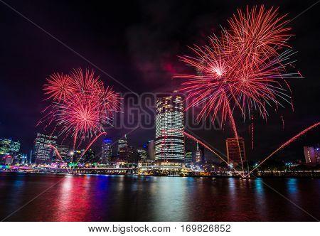 BRISBANE, AUSTRALIA, DEC 23 2016: Colorful fireworks over night sky in Southbank, Brisbane, Australia