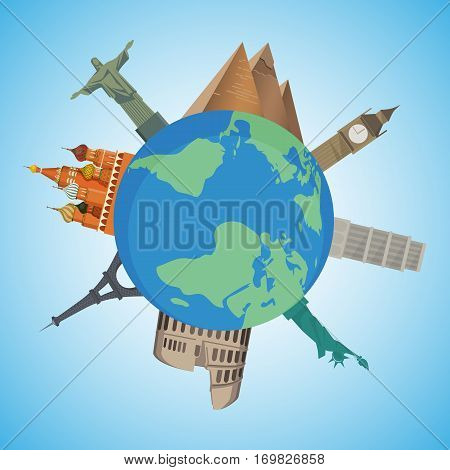 Cartoon landmarks around the world. Vector illustrations with world attractions Egyptian pyramids, Big Ben, Statue of Liberty and Tower of Pisa, Eiffel Tower, Colosseum and Kremlin on globe surface.