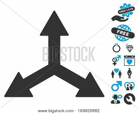 Triple Arrows pictograph with bonus marriage icon set. Vector illustration style is flat rounded iconic blue and gray symbols on white background.