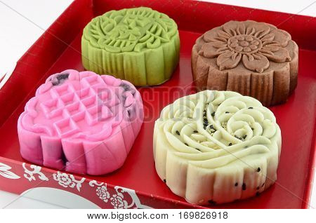Closeup colorful mooncake in the red box
