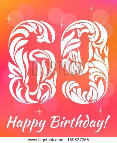 Bright Greeting Card Template. Celebrating 69 Years Birthday. De