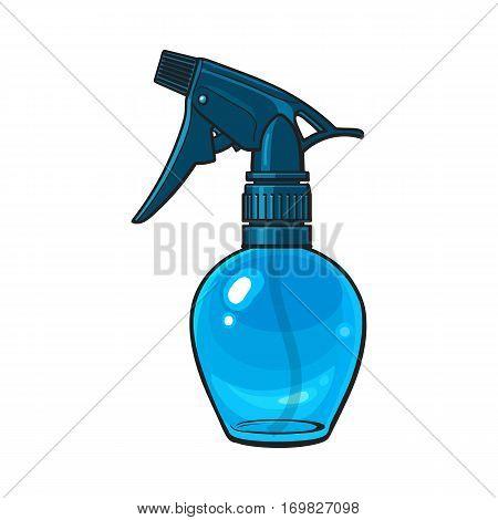 Unlabeled, transparent plastic hairdresser spray bottle, sketch style vector illustration isolated on white background. Hairdresser spray bottle, detergent, window cleanser liquid dispenser
