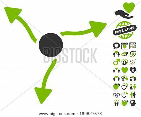 Curve Arrows pictograph with bonus dating pictograms. Vector illustration style is flat rounded iconic eco green and gray symbols on white background.