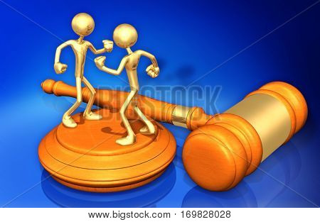 Law Legal Concept With The Original 3D Characters Illustration Fighting