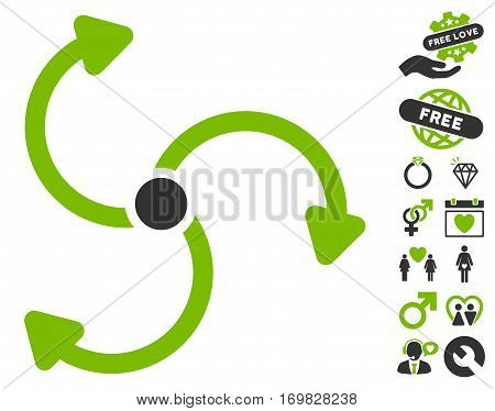 Fan Rotation pictograph with bonus marriage pictograph collection. Vector illustration style is flat rounded iconic eco green and gray symbols on white background.