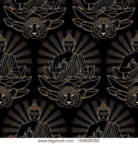 Seamless pattern of sitting Gold Buddha on Lotus with beam of light and tiger head isolated on black background. Sign for tattoo, textile print, mascots and amulets.