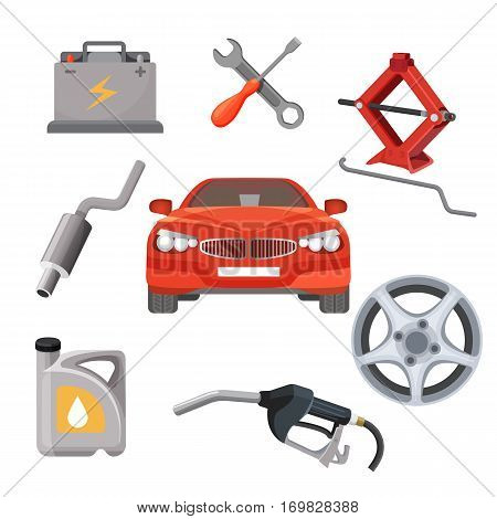 Car service set. Red car and service equipment around it. Working tools isolated. Adjustable jack, battery, canister of gasoline, exhaust pipes, wrench screwdriver, petrol handle vector illustration