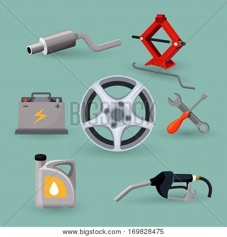 Wheel disk and car service set work tools. Adjustable jack, battery, canister of gasoline, exhaust pipes, wrench screwdriver, petrol handle. Instruments for reparing car vector illustration