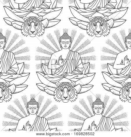 Seamless pattern of sitting Buddha on Lotus with beam of light and tiger head isolated on white background. Sign for tattoo, textile print, mascots and amulets. Coloring page.