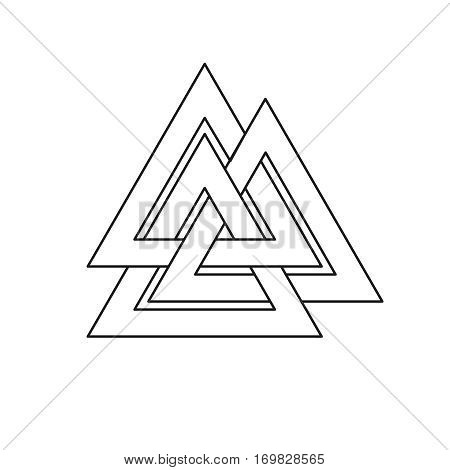 Valknut symbol. Three interlaced triangles symbolize the three worlds of Asgard, Midgarst and Hell. Asymbol of the god Odin. It has big magic power.