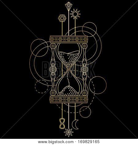 Abstract techno pattern with gold sandglass and geometric elements on black background. Modern tattoo symbol.