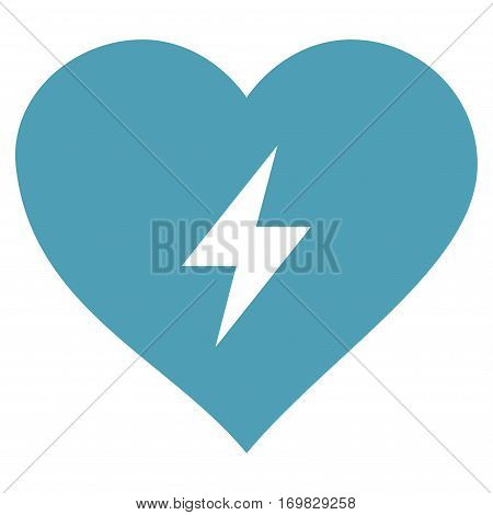 Heart Power flat icon. Vector cyan symbol. Pictogram is isolated on a white background. Trendy flat style illustration for web site design, logo, ads, apps, user interface.