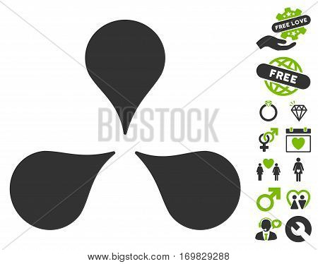 Map Markers pictograph with bonus passion pictures. Vector illustration style is flat rounded iconic eco green and gray symbols on white background.