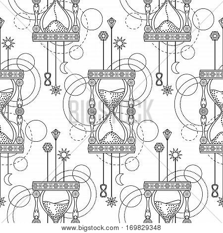 Abstract techno seamless pattern with sandglass and geometric elements on white background. Modern wallpaper. Coloring page.