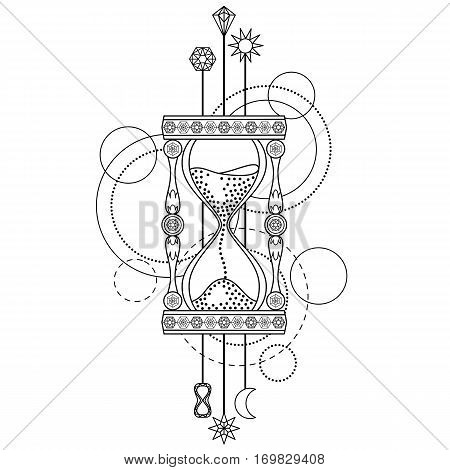 Abstract techno pattern with sandglass and geometric elements on white background. Modern tattoo symbol. Coloring page