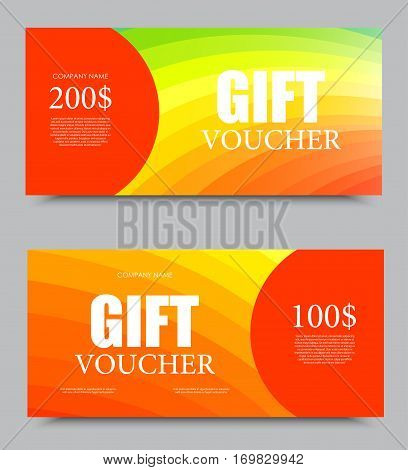 Gift company voucher template on one and two hundred dollars with rainbow spectrum wavy light pattern. Vector illustration