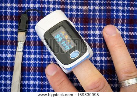 Health examination by oximeter while climbing Kilimanjaro Tanzania