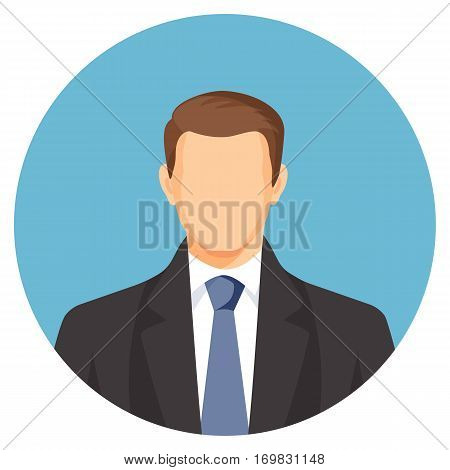 Faceless businessman avatar. Man in suit with blue tie. Human profile userpic without face features. Web picture of gentlemen in round button