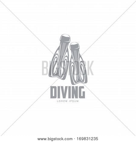 Black and white graphic diving logo template with pair of flippers, vector illustration isolated on white background. Graphic scuba diving, snorkeling logotype, logo design with stylized flippers