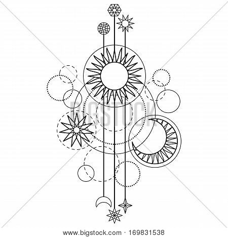 Abstract pattern with sun, moon, star and geometric elements on white background. Modern tattoo symbol. Coloring page.