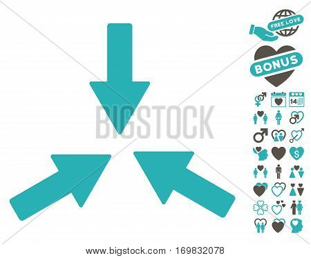 Collide 3 Arrows icon with bonus amour symbols. Vector illustration style is flat rounded iconic grey and cyan symbols on white background.